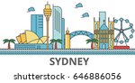 sydney city skyline  buildings  ... | Shutterstock .eps vector #646886056
