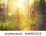 young female runner warming up... | Shutterstock . vector #646901212