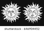 hand drawn sun with face... | Shutterstock .eps vector #646904452