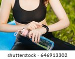 close up portrait of sport girl ... | Shutterstock . vector #646913302