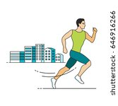jogging man in a city  line...   Shutterstock .eps vector #646916266