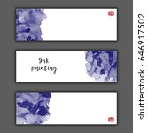 ink wash painting set. asian... | Shutterstock .eps vector #646917502