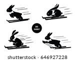 Stock vector rabbit ski logo symbol signs 646927228
