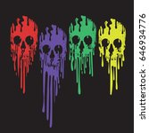 Skull Color Illustration  Tee...