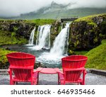 red paired chaise lounges for... | Shutterstock . vector #646935466