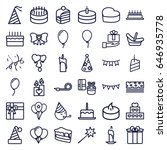 birthday icons set. set of 36... | Shutterstock .eps vector #646935778