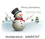 postcard with snowman | Shutterstock .eps vector #64694767