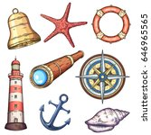 nautical illustrations set.... | Shutterstock .eps vector #646965565