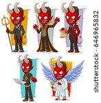 cartoon angry red devils and... | Shutterstock .eps vector #646965832
