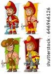 cartoon cool fireman in red
