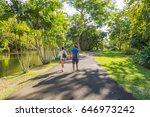 tourists walking in mauritius... | Shutterstock . vector #646973242