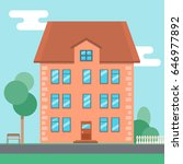flat cartoon house near the... | Shutterstock .eps vector #646977892