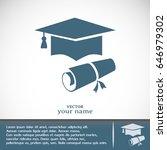 graduation cap vector icon   Shutterstock .eps vector #646979302