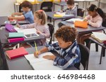attentive schoolkids doing... | Shutterstock . vector #646984468