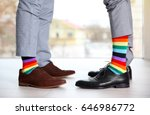 gay couple with colorful socks... | Shutterstock . vector #646986772