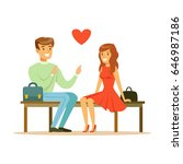 loving couple sitting on a park ... | Shutterstock .eps vector #646987186