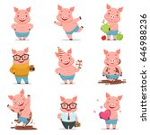 little cartoon pigs characters... | Shutterstock .eps vector #646988236
