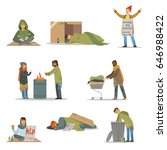 homeless people characters set. ... | Shutterstock .eps vector #646988422