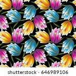 seamless vector fancy flower... | Shutterstock .eps vector #646989106