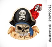 emblem for pirate party with a... | Shutterstock .eps vector #646990012