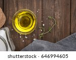 olive oil with thyme and salt... | Shutterstock . vector #646994605