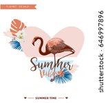 flamingo summer design  t shirt ...   Shutterstock .eps vector #646997896