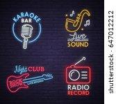 sound neon sign. karaoke neon... | Shutterstock .eps vector #647012212