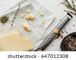 parmesan top view with small... | Shutterstock . vector #647012308