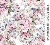 seamless pattern of bouquets of ... | Shutterstock . vector #647014816