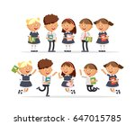 group of elementary school... | Shutterstock .eps vector #647015785