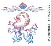 colorful heraldy royal lion and ... | Shutterstock .eps vector #647017732