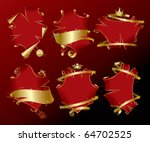 vector set of six holiday red... | Shutterstock .eps vector #64702525