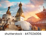 Swayambhunath - the Buddhist temple and the village center on the outskirts of Kathmandu in Nepal. Monkey Temple.