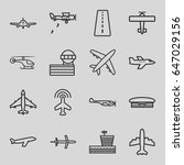 aviation icons set. set of 16... | Shutterstock .eps vector #647029156