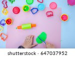 child hands playing with... | Shutterstock . vector #647037952