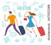 summer vacation cartoon... | Shutterstock .eps vector #647052388