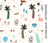 Seamless pattern with summer elements. Creative vector texture with palm tree,bikini,hat,sunglasses | Shutterstock vector #647064406