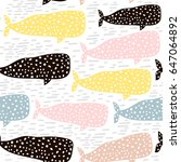 seamless pattern with whale....   Shutterstock . vector #647064892