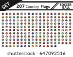 set 207 country flag soccer... | Shutterstock .eps vector #647092516