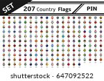 set 207 country flag pin | Shutterstock .eps vector #647092522