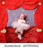 infant baby girl wearing white... | Shutterstock . vector #647094562