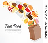 fast food background with... | Shutterstock .eps vector #647097352