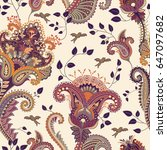 paisley floral seamless pattern.... | Shutterstock .eps vector #647097682