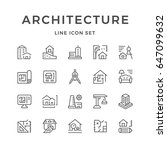 set line icons of architecture... | Shutterstock .eps vector #647099632