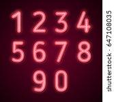 neon numbers. vector...   Shutterstock .eps vector #647108035