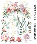 flower bouquet with elements   Shutterstock . vector #647111326