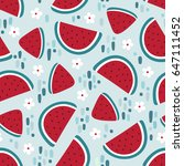 watermelon seamless pattern... | Shutterstock .eps vector #647111452