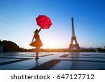 travel to paris  silhouette of... | Shutterstock . vector #647127712
