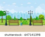 bench with tree and lantern in... | Shutterstock .eps vector #647141398