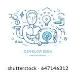 man turns the handle of idea... | Shutterstock .eps vector #647146312
